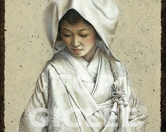 Japanse Bruid 1 - Prachtige Fine Art Print van Acrylicverf - Great Master Print created from the Acrylic Painting Art, Japanese Bride 1
