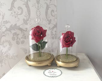 Small Bell Jar Glass Dome with painted and glittered base and artificial RED rose.