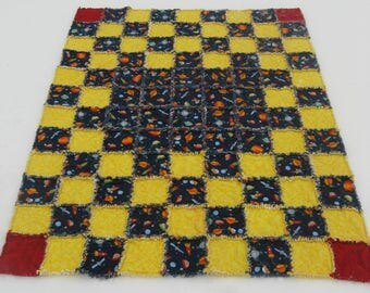 Outer Space Navy and Yellow Flannel Rag Quilt