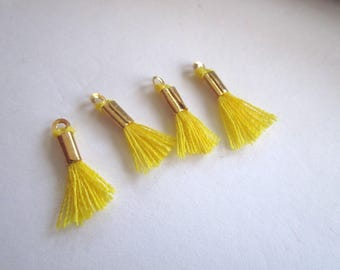 Set of 4 mini yellow Pompom