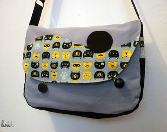 Cotton bag black gray and yellow patterned cat