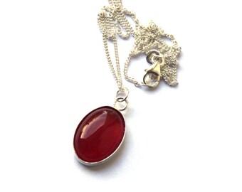 Carnelian necklace, Carnelian pendant, Sterling silver, silver necklace, gemstone necklace, gemstone pendant, gemstone jewelry, gift for her