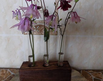 Test tube vase, wooden vase, Rustic Wedding Vases,Test Tube Rack, Wedding table decor, Rustic Wood Vase, wedding centerpiece