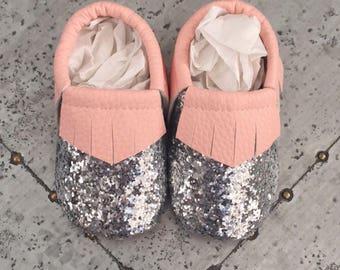 Pink & Silver Glitter Baby Fringe Moccasins