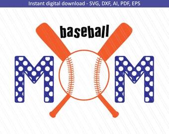 Baseball Mom SVG, Sports svg, Baseball shirt, cricut, baseball svg, Team mom- Instant digital Download - SVG, Dxf, Ai, Eps, Pdf