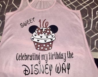 Birthday cupcake mouse ear shirt, Disney vacation birthday shirt