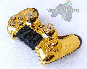 Custom PS4 Controller - Modded Sony PlayStation 4 Pro/Slim Version 2 Dualshock Wireless Pad - Gold Bullet Mod V2