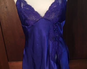 L / Shirley of Hollywood Vintage Blue Chemise / Large