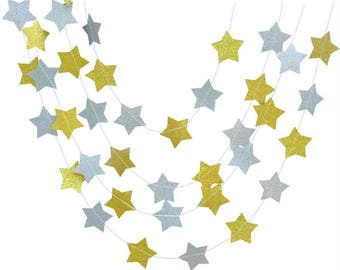 Twinkle Twinkle Little Stars Glitter Garland Gold and Silver Christmas Tree Ornaments Birthday Party Decor Pack of 20 Feet