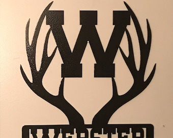 Personalized plasma cut Metal Deer antlers for your cabin or favorite hunting fan with family name and initial. Good housewarming, birthday
