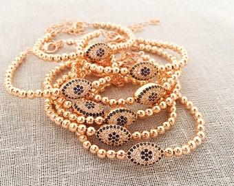 Evil eye bracelet, rose gold bracelet, evil eye beaded bracelet, adjustable bracelet, evil eye bracelet, zirconia bracelet, evil eye jewelry
