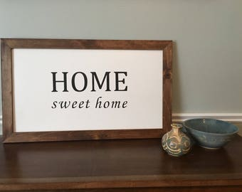 "HOME sweet home wooden sign 25""x15"""