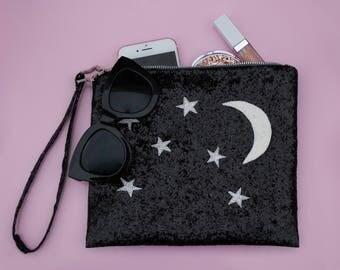 Night Sky Glitter Clutch Bag