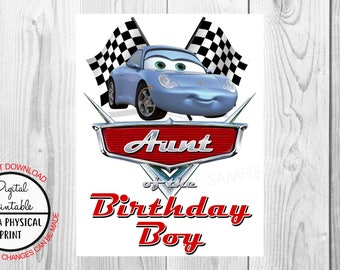 Cars Birthday Iron On Shirt Transfer - Sally tshirt or clip art printable - Instant Download - Aunt Auntie of the Birthday Boy