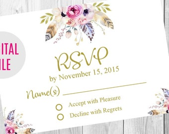 RSVP Card, Gold Floral Boho Wedding Invitation, Save the Date, Thank You Card Sign, Feather Floral Boho Wedding Invite Set