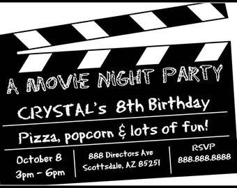 Movie Night Invitation, Birthday Party Invitation, Birthday Party Invite, Printable, Personalized Customized, Baby Shower Invitation