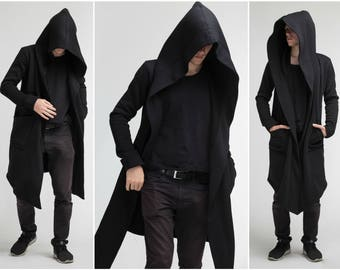 Man Coat \ Jedi Costume Assassin Black Hooded Coat Urban Jacket Oversized Unisex Hoody Mens Coat Black Mantle Sci Fi A0008