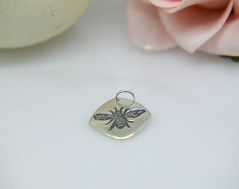 Silver Pendant, Silver Bee Necklace,  Diamond shaped Bee Pendant, Insect, Nature Jewellery, Bee Necklace, Silver Bee Pendant, Natural, (UK)
