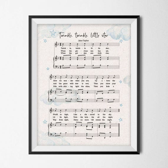 Twinkle Twinkle Little Star Free Sheet Music For Piano: Music Nursery Decor Twinkle Twinkle Little Star Sheet Music