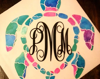 Lilly Pulitzer Turtle Monogram Decal. Personalized Sticker for your YETI tumbler. Monogrammed Decals for ramblers, laptop, car window, etc.