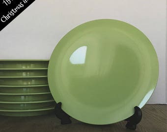 Tupperware plate set, Vintage Tupperware, Christmas in July,  Green, Lime, Pastel green, Bread Plate, 4574A-2, set of 8, Salad plates
