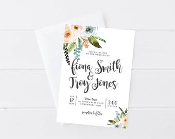 Floral Wedding Invitation | Wedding Invitation Printable | Wedding Invitation PDF | Pretty Romantic Wedding Invitation