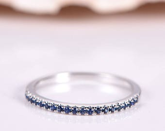 Blue sapphire wedding band sapphire ring half eternity ring stacking matching band anniversary ring solid 14k white gold Pave set thin band