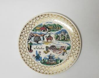Vintage Knowles Idaho State Ceramic Souvenir Collectible Plate