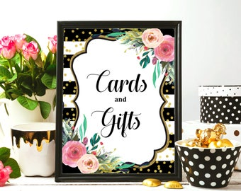 Floral Cards & Gifts Sign Printable, Black and White Gold Glitter, Bridal Shower Baby Shower Birthday Decorations, Instant Download