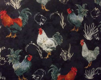 French Roosters 100% Cotton Fabric #92