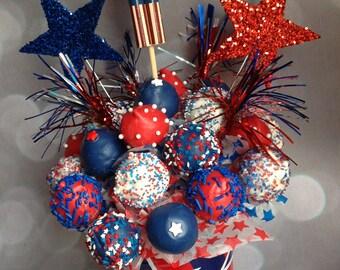 4th Of July Cake Pops Bucket- Cake Pop independence day bucket- centerpiece, arrangement