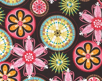 "27"" REMNANT - Carnival Bloom by Michael Miller Fabrics, #CX3028, Large Pink, Yellow, Orange, Brown, White, Blue, Green Flowers on Dark Brown"