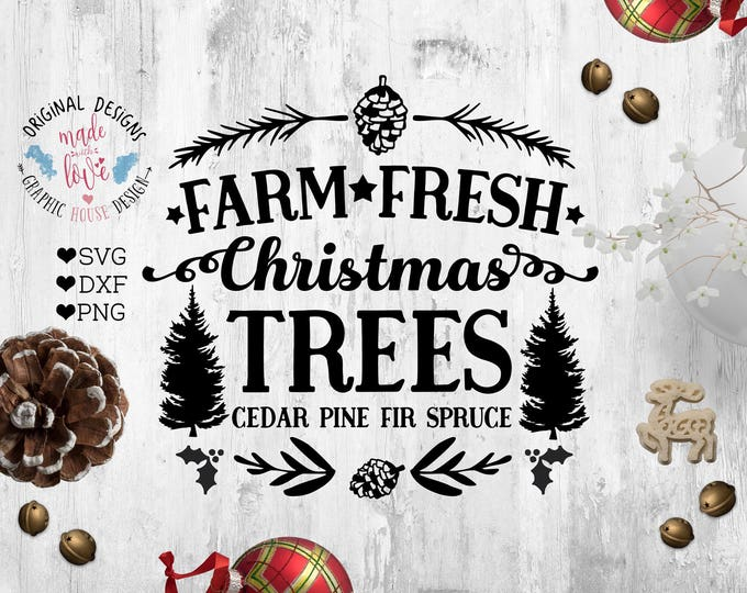 Featured listing image: Farm Fresh Christmas Tree SVG, Farm Christmas Tree Cut File in SVG, DXF, png, Christmas tree sales svg, Farm trees svg file, Christmas svg