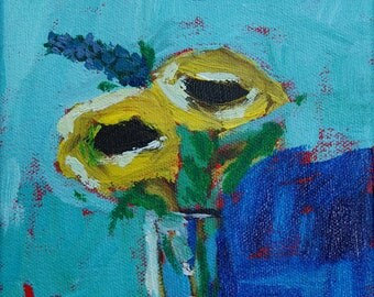"6""x6"" Mini Abstract painting of Flowers by Debi Sellinger"