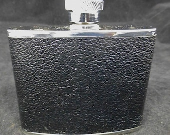 Stainless Steel Silver 4 oz Hip Flask with Black Textured Lichfield Leather