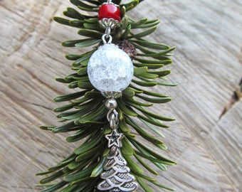 Christmas Earrings-Gifts for Her-Coral earrings-Christmas tree-Clear earrings-Crystal earrings-Long Earrings