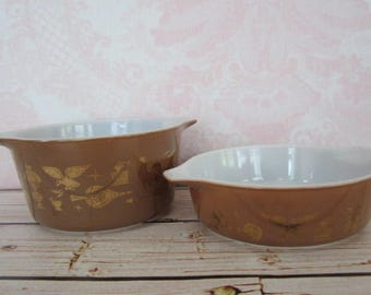 2 Small Pyrex Early American Brown & Gold Casserole Dishes Vintage Brown Early American Pyrex 471 AND 473
