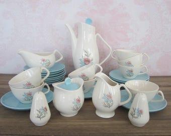 Vintage Tea Set Blue Pink White Floral Kitchen Tea Set Instant Vintage Tea Party