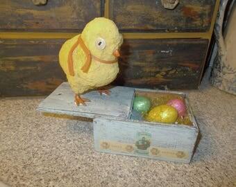 Primitive Easter, chick and eggs, shelf display, Spring decor, farmhouse decor, Easter arrangement, table centerpiece, Easter peep, ooak