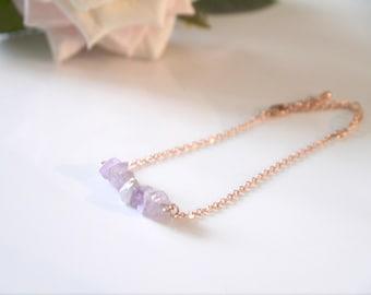 Natural Amethyst Rose Gold Bracelet | Rose Gold | Natural Amethyst | Adjustable Bracelet | Bridesmaids | Gift |