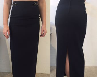 90s BLACK MAXI SKIRT with chain detailing