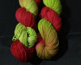 "100g strand hand dyed 4-fold socks wool ""green-red"""