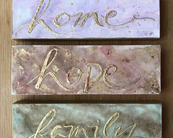 Watercolor with gold leaf words| 12x4 Canvas