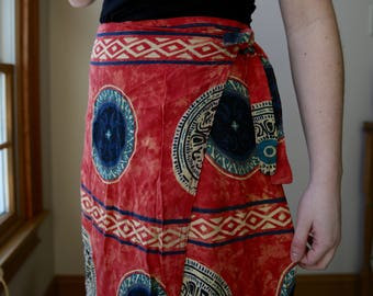 Vintage Medallion Print Wrap Skirt