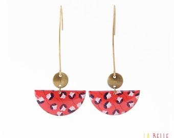 Crochet red floral half moon earrings