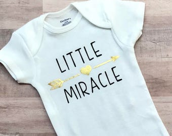 FREE SHIPPING / Little Miracle / onesie / baby girl / baby boy / baby shower gift / new mommy / gold