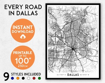 Dallas map print, Printable Dallas map art, Dallas print, Texas map, Dallas art, Dallas poster, Dallas wall art, Dallas gift, Map of Dallas