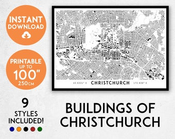 Christchurch map print, Printable Christchurch map art, Christchurch print, New Zealand map, Christchurch art, Christchurch poster, NZ map