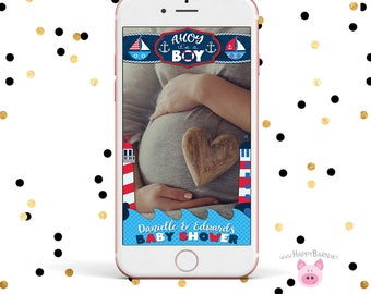 Snapchat GeoFilter, Nautical Baby Shower Snapchat Filter, Nautical Baby Shower Snapchat Geofilter, Nautical Filter, Ahoy It's a Boy Snapchat