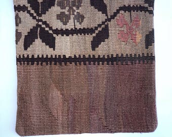 Vintage Handmade - Anatolian - Turkish Kilim - Pillowcase - 16 by 16 in